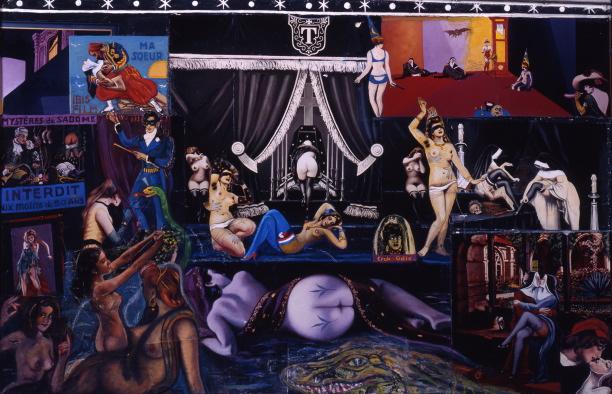 Cérémonial saphique 1971, technique mixte : collages photographiques et huile 60 x 90 cm- Érotisme