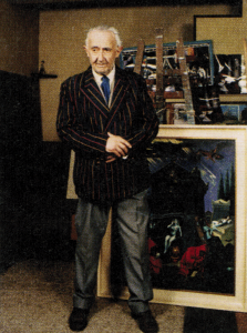 Clovis Trouille dans son atelier-Exposition
