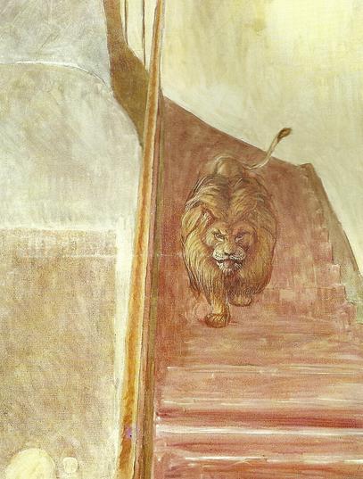 Lion dans l'escalier