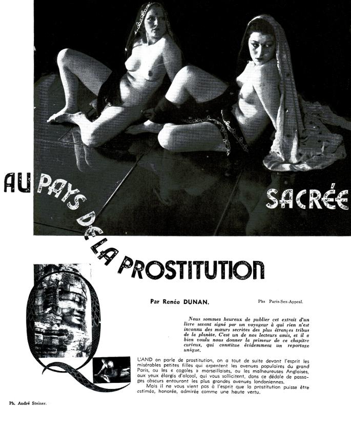 Renée Dunan Au pays de la prostitution sacrée- Sex-Appeal